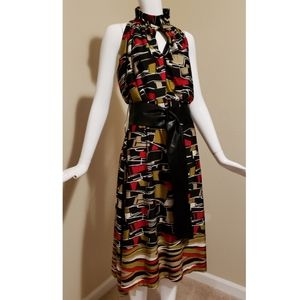 ASHLEY STEWART Multi-Colored Midi with Belt